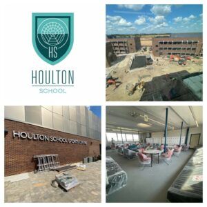 Logo for Houlton School and three photos of the front and internal rooms in the school
